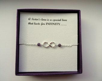 Sister gift, Sterling silver Infinity amethyst bracelet, Infinity bracelet, Infinity jewelry, Bridesmaids gift, Gift for Sister