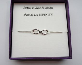 Wedding Gift For Brother And Sister In Law : Sister in law gift, Silver infinity bracelet, Silver infinity bracelet ...