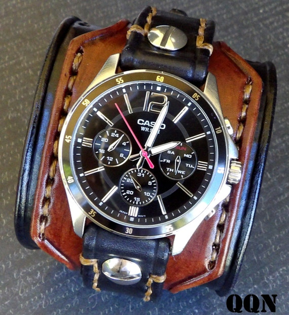 Leather Watch for Men Custom Watch Cuff Leather Wrist Watch