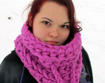 Chunky Pink Cowl Scarf, Neckwarmer, Oversized Cowl, Mega Bulky Scarf, Women's Teen's Winter Accessories