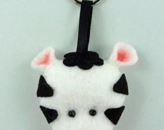 Felt Keychain. Felt Keyring. Felt Zebra Keychain. Zebra Keyring. Soft Felt Zebra. Ornament. Bag Charm.