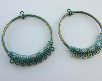2x Earring connector greyish green color. tribal, gypsy, bohemian, hippie, vintage