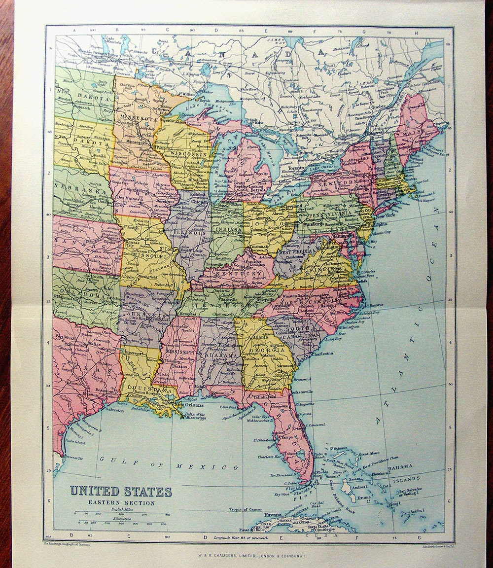 Large Map Of EASTERN UNITED STATES America Atlas Antique - Us map 1922