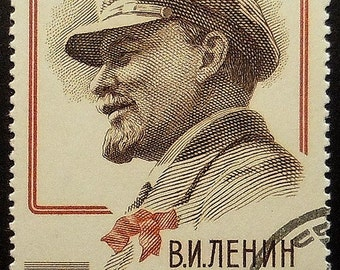 Vladimir Lenin Russia -Handmade Framed Postage Stamp Art 19417