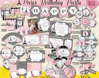 On Sale! Paris Birthday Package, Printable Paris Party Package, Parisian Birthday, Paris First Birthday Party Decoration,Paris Party Decor