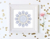 Art Print - Gypsy bohemian decor white purple lilac lavender light yellow tan geometric wall art office decor bedroom decor mandala