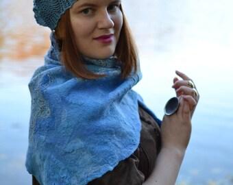 Blue Crochet Beret, Blue-sky, Azure, 100% cotton, romantic cap