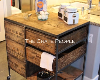 FREE SHIPPING - The Vintage Crates and 100+ yr old Barn Wood Kitchen Island | Crate Combo on Casters | Customizable Crate Furniture