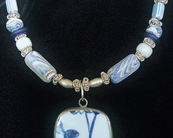 Antique Blue Pendant Necklace,  Porcelain Beads, Old African Trade Beads, Blue Beads, Silver Necklace, African Trade Bead Necklace
