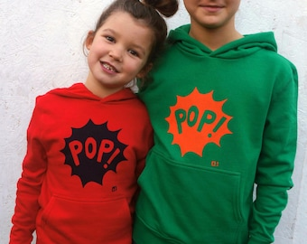 SALE! POP! organic hoody for kids in red or green
