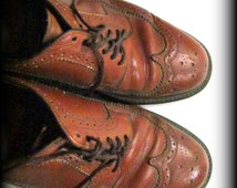 Wingtip shoes, leather wingtip shoes, men's rockabilly shoes, men's brogue shoes, size 91/2 D,  # 55