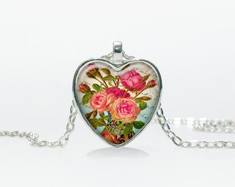 Rose pendant Rose Heart necklace Heart jewelry  Heart shape Christmas gift