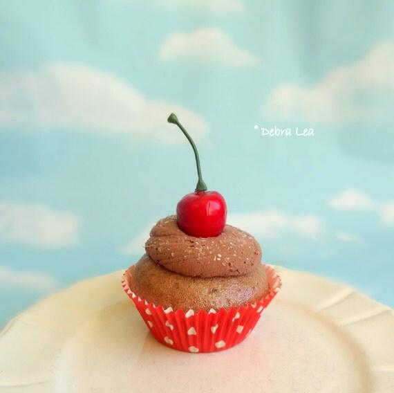 Fake Cupcake Handmade Faux Chocolate Cupcake Frosting Vintage Retro Classic Cherry Polka Dot Valentine's day