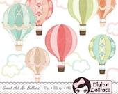 Digital Hot Air Balloon Clipart, Hot Air Balloon Party Printable, Clip Art, Graphic Image