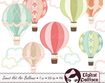 Digital Hot Air Balloon Clipart, Hot Air Balloon Party Printable, Clip Art, Graphic Image