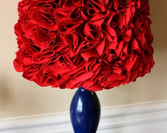 Red Ruffled Lamp Shade Ruffles Lampshade very beautiful or Custom make one with a color of your choice.