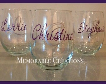 FAST SHIPPING-Personalized Stemless Wine Glass - Perfect for Wine Lovers, Girls Night, Wine Tastings, Girls Weekend
