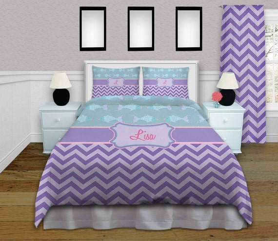 Purple Chevron Twin Bedding
