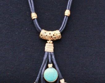 Fabulous TURQUOISE NECKLACE /LARIAT Leather and  Brass.Hand Made.