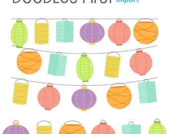 Paper Lantern Set Digital Clip Art for Scrapbooking Card Making Cupcake Toppers Paper Crafts