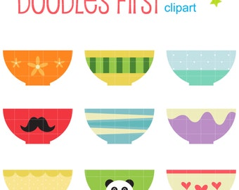 Cute Bowls Digital Clip Art for Scrapbooking Card Making Cupcake Toppers Paper Crafts