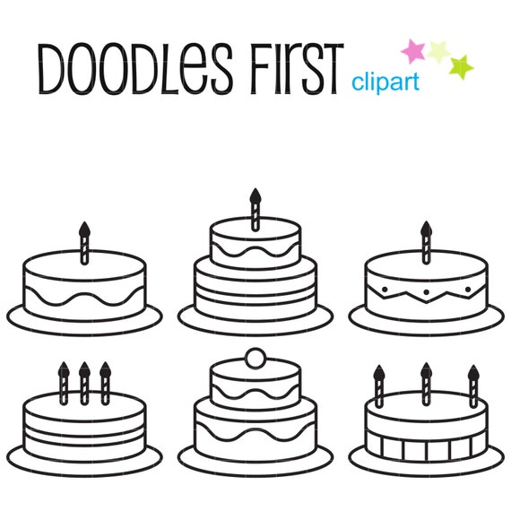 Birthday Cake Outlines Clip Art For Scrapbooking Card Making