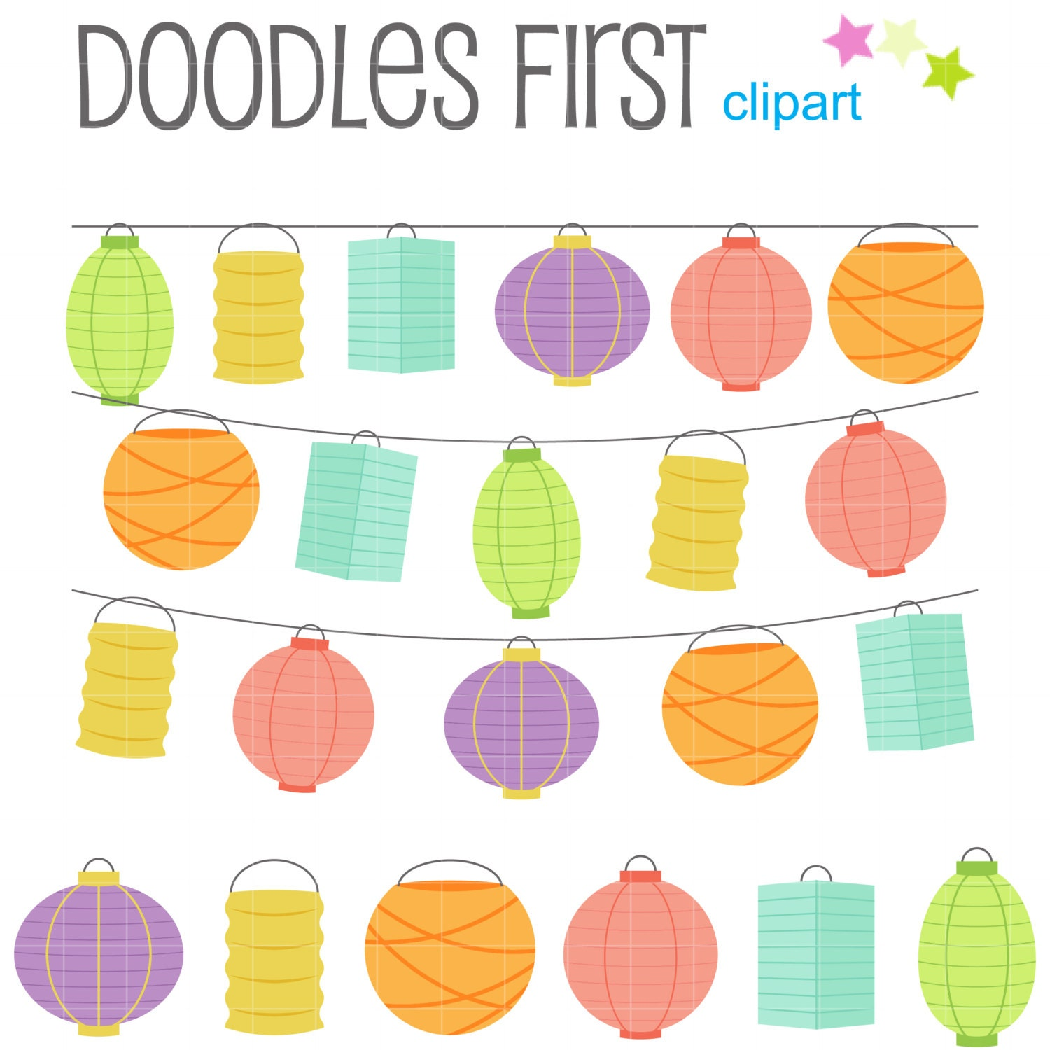 Paper Lantern Set Digital Clip Art for Scrapbooking Card