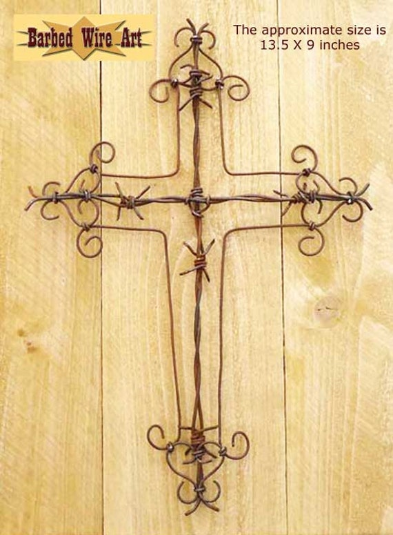 Cross handmade metal decor barbed wire art country western