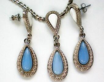 Blue and White Milk Glass Pendant & Earrings - 3495