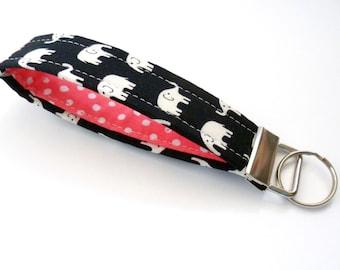Elephant Keychain, Black and Coral, Fabric Key Fob, Gift Under 10, Stocking Stuffer, Polka Dot Lanyard
