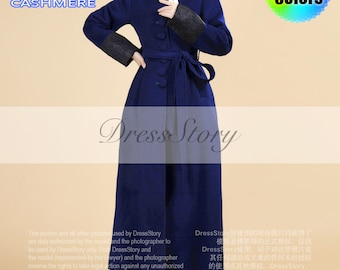 Stand Collar Royal Blue Cashmere Wool Coat with Lace Details - Long Blue Wool Coat - Blue Cashmere Coat - Navy Wool Coat - 40+ Colors - BC5