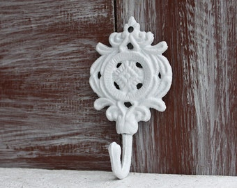 White Wall Hook, Decorative Hook, Ornate Wall Hook, Shabby White Hook, Small hook, hand towel hanger, Jewelry Hook, Cast Iron