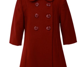 Girls Christmas double breasted winter coat, Just the right coat she needs to beat that cold winters day and still look adorable too! 17308