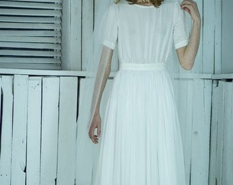 Sheath modest short fitted sleeve wedding dress