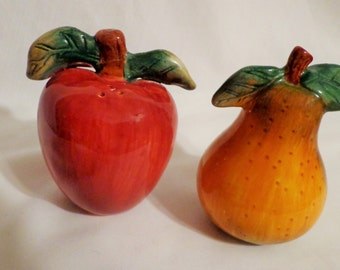 Salt and Pepper Shaker set -  Large Pear and Apple