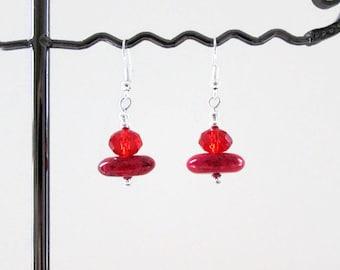 CLEARANCE Red magnesite earrings, handmade in the UK