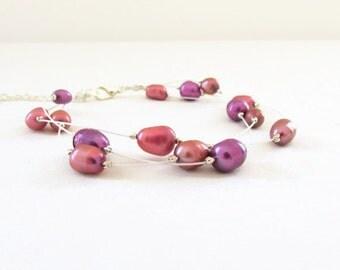 Freshwater pearl bracelet, pink lilac pearl bridal bracelet, handmade in the UK