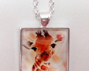 Watercolour Pendant, Necklace, Baby Giraffe, Art Jewellery, Mothers day