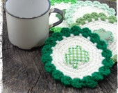 Set of 4 - Shamrock Coasters, St. Patrick's Day Decor, Mug Rug, Country Kitchen, Shabby Farmhouse, OFG FAAP
