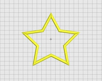 Star Applique Embroidery Design in 2x2 3x3 4x4 and 5x5 Sizes