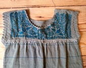 Blue Mexican embroidered top traditional Oaxaca Huipil woven blouse hippie boho medium bird print bohemian style embroidery