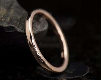 2mm Comfort Fit Wedding Band in 14k Rose Gold, Classic High Polish Wedding Band, Solid Gold Wedding Ring, Right Hand Ring, Kelsie D