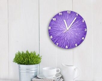 Original Painting PURPLE WALL CLOCK, Lavender Home Decor, Purple Clock, Unique wall clock, Modern Wall clock,
