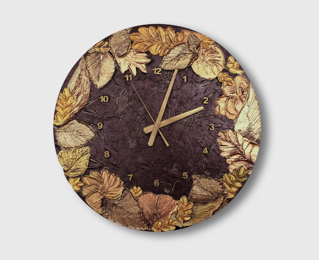 Large Wall Clock Unique Clock Art Wall Clock Wood Wall