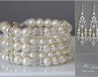 Pearl Bridal Jewelry Set Pearl Cuff Bracelet Long Earrings, Pearl Wedding Jewelry Set, Bridal Pearls, Earrings Bracelet Set art. 208 Melek
