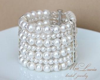 Pearl Bracelet, Bridal Bracelet, Pearl Wedding Bracelet for Bride, Multistrand Bracelet, Pearl Cuff Bracelet, Pearl Jewelry Bracelet