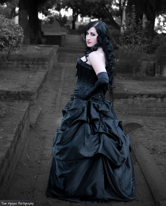 SALE Black Satin Steampunk Victorian Bella Bustle Pick-up Skirt Ready to Ship steampunk buy now online