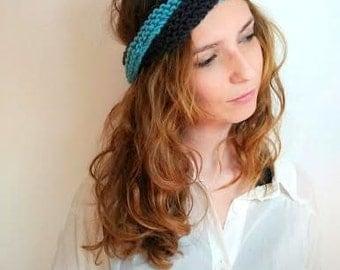 Blue headband handknitted. / Ready to ship.