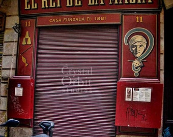 Magic Shop, Barcelona Photo, Urban Art, Spain, Gothic Quarter, Bari Gotic, Sale, Red, Yellow, Maroon, Home Decor, Wall Art, Barcelona Print
