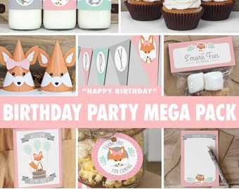 Girl Woodland Birthday Party Mega Pack // INSTANT DOWNLOAD // Mint & Pink Birthday Decorations // Deer Fox Raccoon // Printable BP02